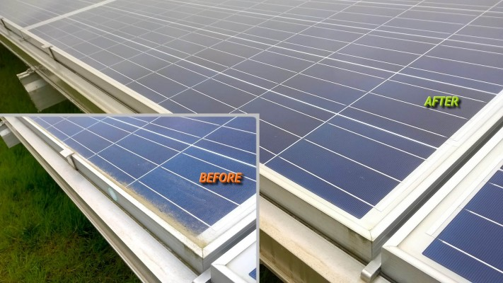 Solar farm panel before and after cleaning compare