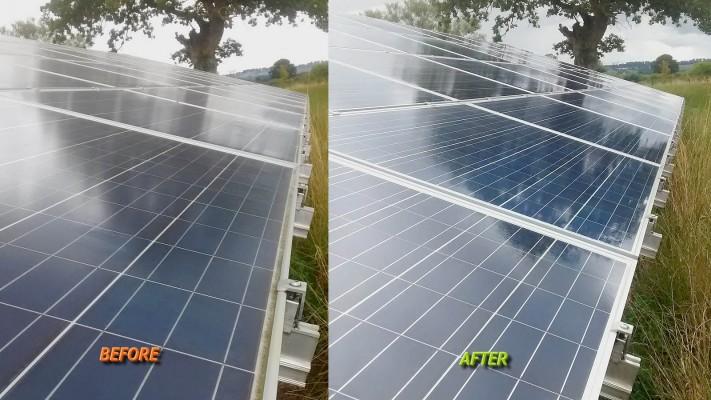 Shining solar panel working at full capacity on a solar farm near Cambridge