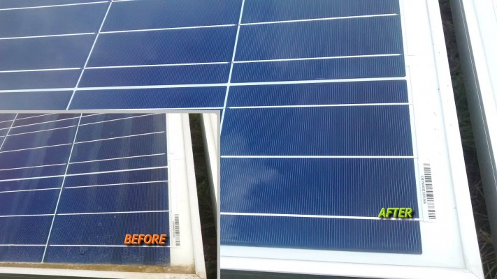 Solar panels compare before and after cleaning by Green Solar World
