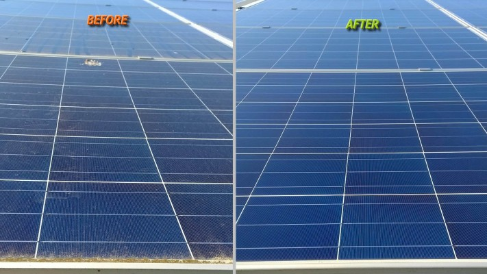 Dirty solar panel before and after cleaning