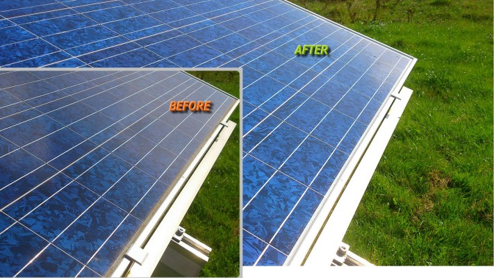 Solar panels before and after cleaning free of dust and bird droppings