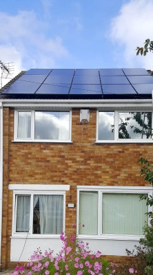 Fifteen solar panels generating free electricity for a family in Cambridge