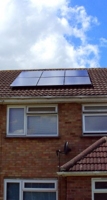 Six small solar panels, enough to provide good amount of electricity for a family near Cambridge