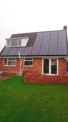 Almost entire roof of a detached house near Cambridge covered with solar panels