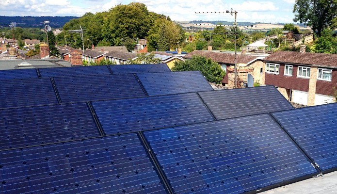 Solar farm installation on a warehouse in a village near Cambridge