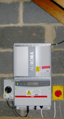 Solar panels inverter installed in a semi-detached house in Cambridge