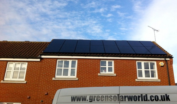 Just completed installation of solar panels over this terraced house in a village near Cambridge